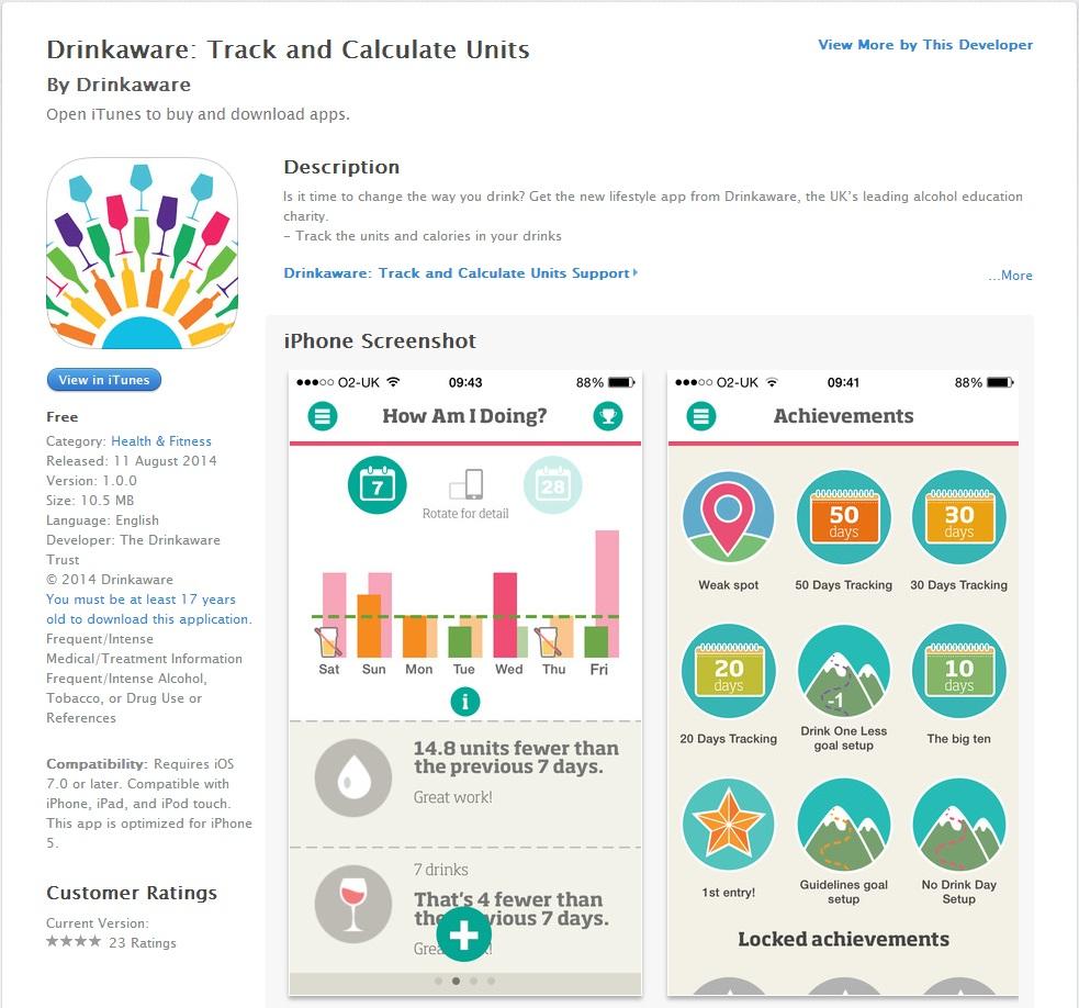 Copywriting for the Drinkaware app