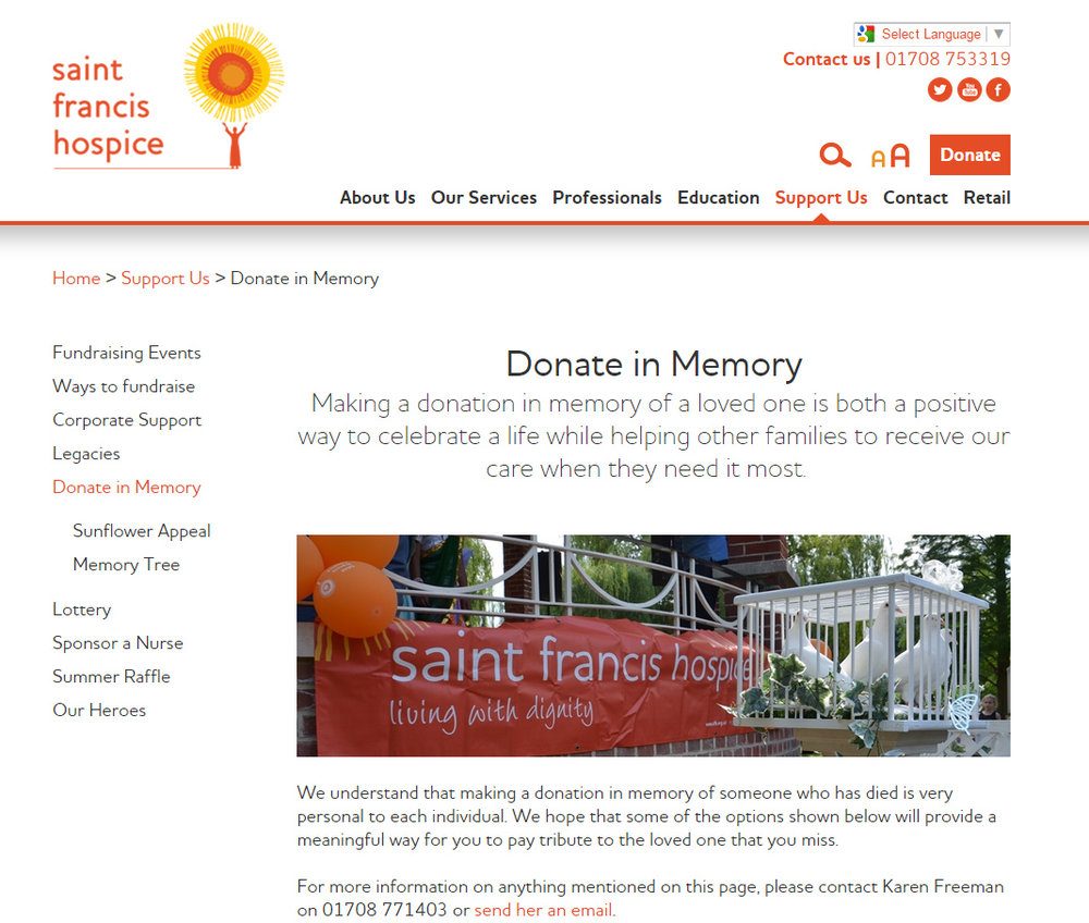 Copywriting for St Francis Hospice