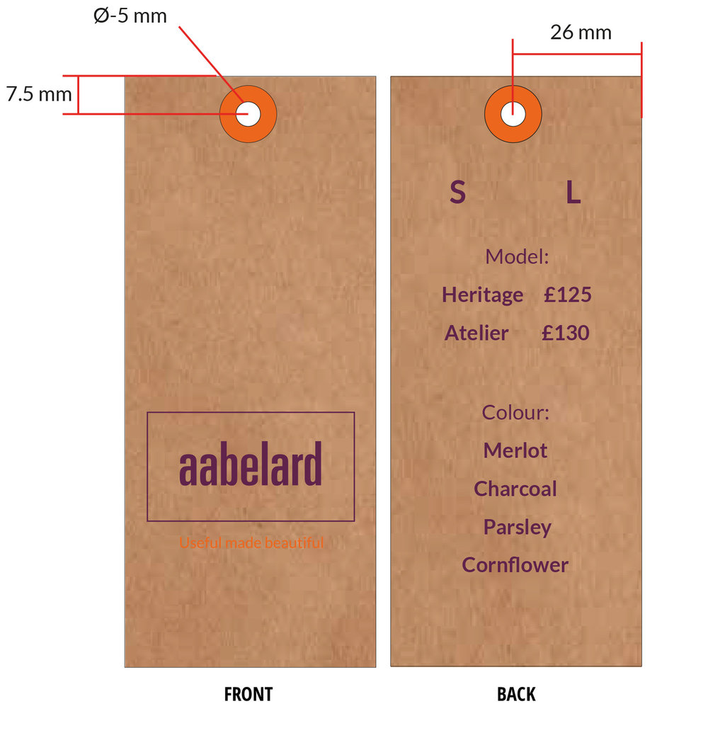 Swing tags for Aabelard