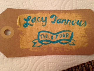 These gold and turquoise place cards were SO much fun to paint, even if they did require a bit of midnight-oil burning.