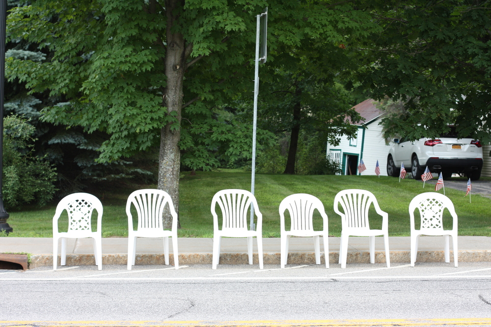 "Folks reserving their ""Hollywood"" seating for the Schroon Lake July 4th Parade!"