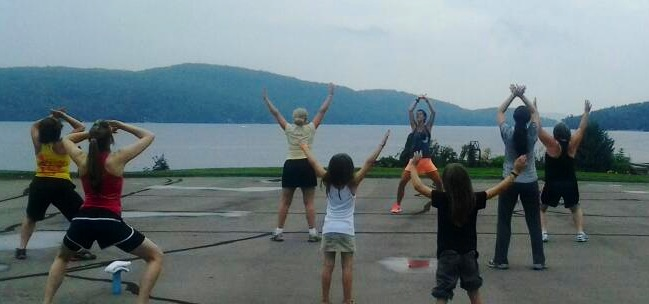 Picture Perfect: Zumba with Schroon Lake as the backdrop. Hosted by Cathy Peace and Anna Bentley Hay