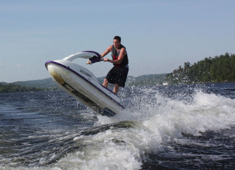 SUNY Plattsburgh bound Freshman Nicky Batson, grabbing some Schroon Lake air!