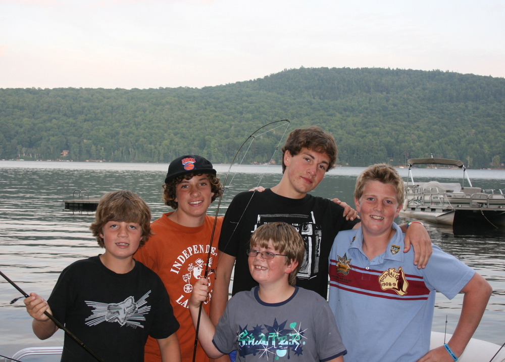A happy group of cousins on Schroon  Lake Fishing: there's nothing better.
