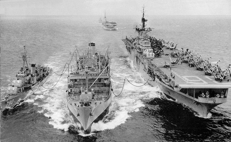 Aircraft carrier Antietam and destroyer Shelton being refueled by Tolovana in 1951/52. The carrier Essex is visible in the background. Courtesy: Wikipedia