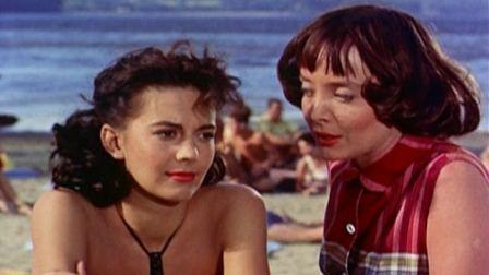 Natalie Wood and Carolyn Jones, on the Beach at Scaroon Manor