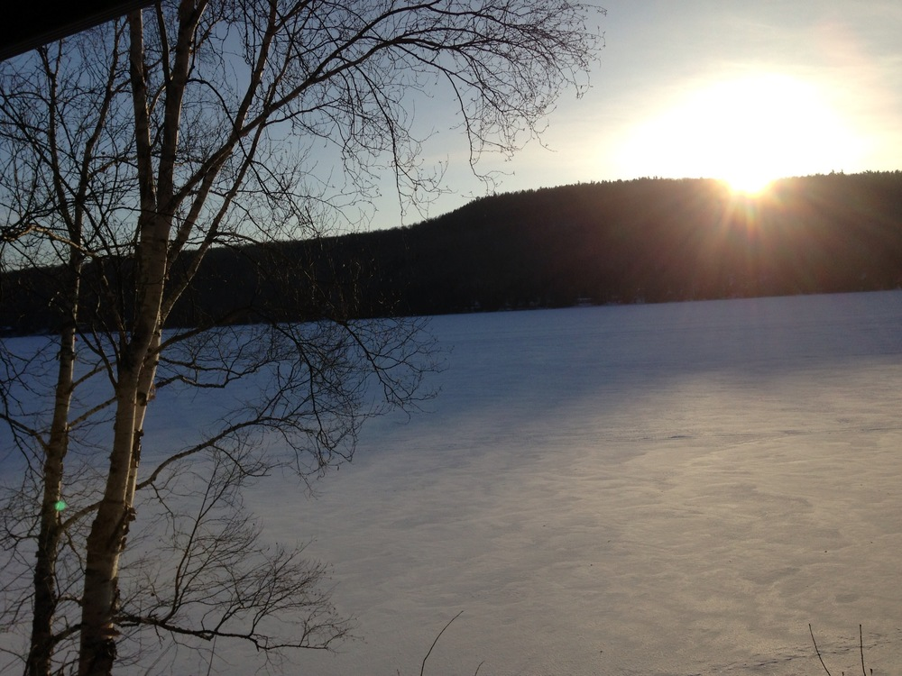 Schroon Lake at about 9 am. From the west side of the Lake