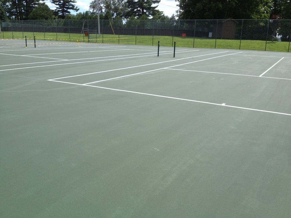 Freshly resurfaced and painted Tennis Courts. Summer, 2013