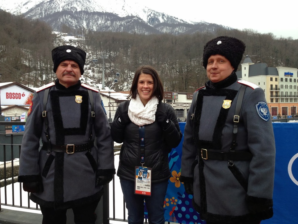 Photo shows TV producer Sheila Conolly making new friends in Sochi.
