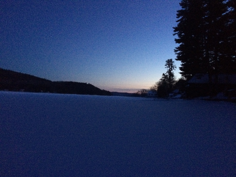 A cold, February evening. Looking South at dusk, just north of the Narrows