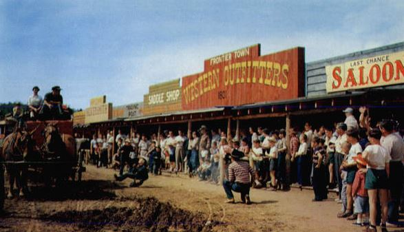 Frontier Town in its glory days. Schroon Laker Postcard Collection.