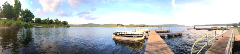 A recent sunset at the Town Dock taken with an iphone 5s using Pano mode. Schroon Llaker Collection. Copyright 2014. All Rights Reserved.