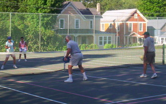Pickleball at the Schroon Lake Town Tennis Courts; Photo: Schroon Laker Collection.