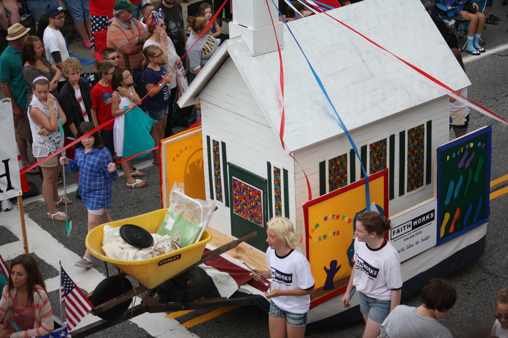 The Schroon Lake Community Church Float in the July 4th Parade
