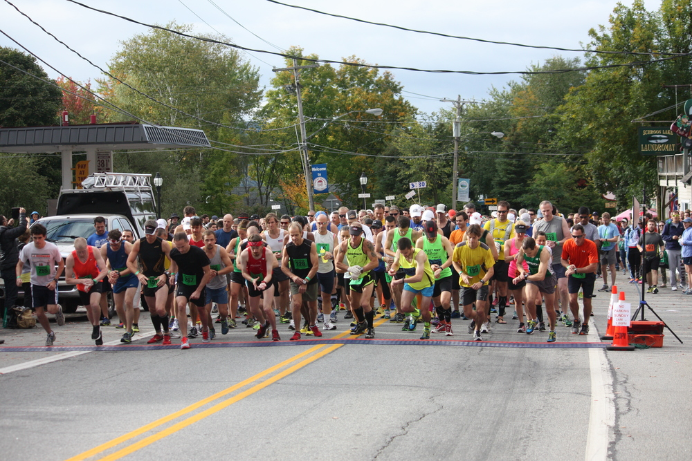The start of the 2013 ADK Marathon on main Street in Schroon Lake
