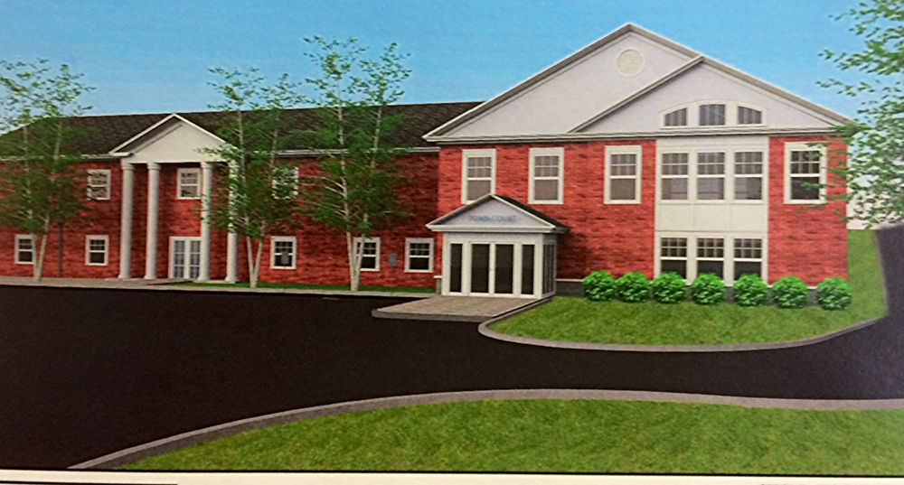 Front View of the proposed Town Hall expansion on the right side of the building.