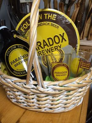 Just one of the 40 baskets up for grabs at todays annual Christmas Basket Raffle at the Schroon lake Chamber of Commerce