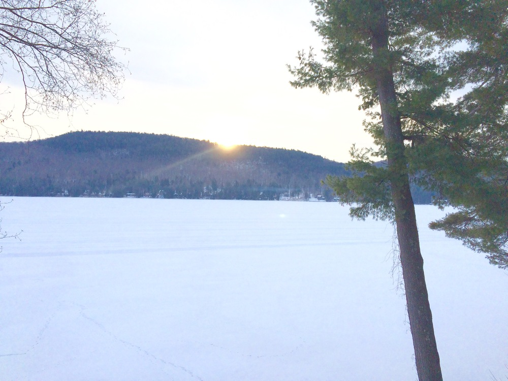 Sunrise, Schroon lakde, sunday, january 18, 2015. Schroon Laker Collection. all rights reserved.