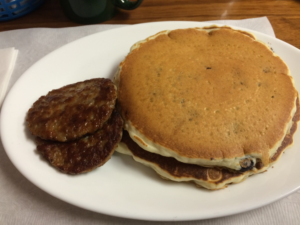 Delicious Blueberry pancakes at Pitkins