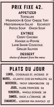 THE MARSEILLE dinner PRIXE FIXE MENU