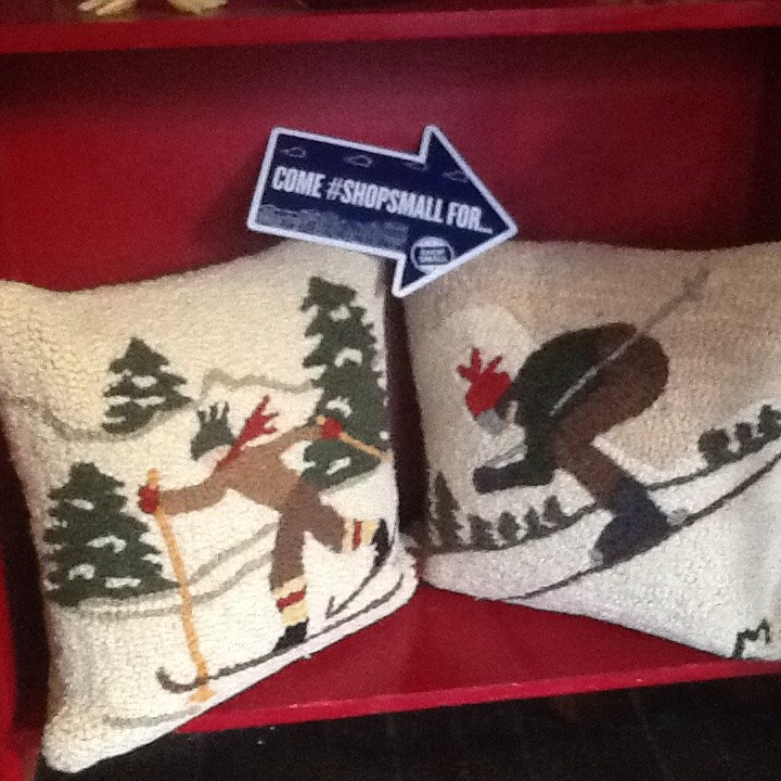 American Folk artist Laura Megroz designed textiles on sale at the Adirondack General Store