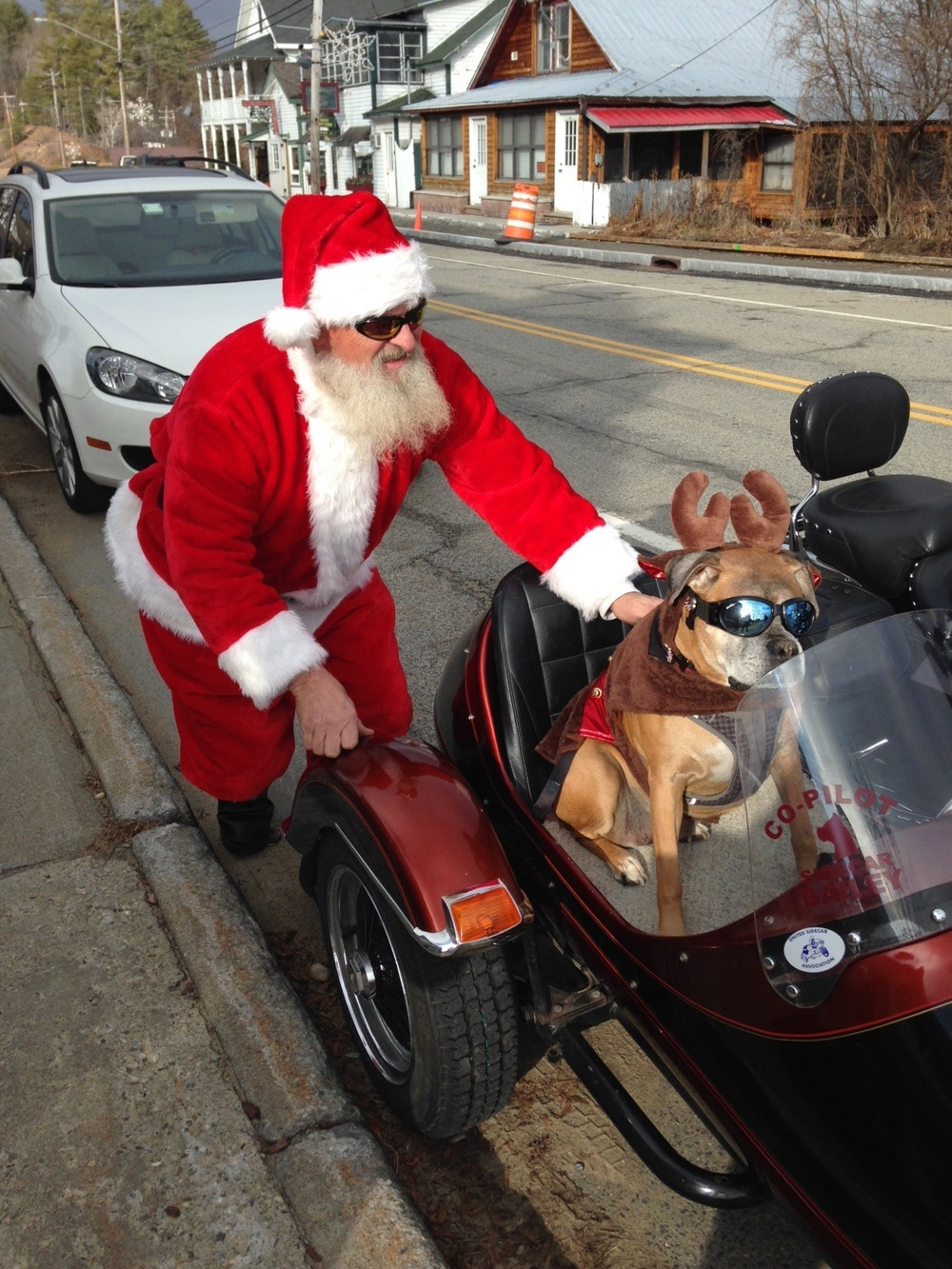 Photo by Annette Batson shows Bailey The Boxer and his buddy in the red suit!