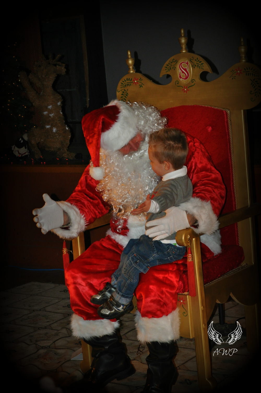 Photo of Santa greeting a young man by Tina Plumstead, owner of Angel Wings Photography