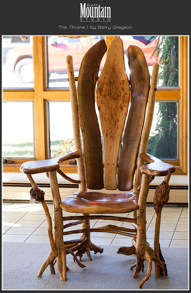 The Throne by Barry Gregson. Experience it at Giant Mountain Studio . This is just one of the great rustic furniture pieces on display.