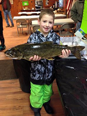 "Tom Williams with his almost winning Lake Trout 5.79lbs 26""PHOTO COURTESY SCHROON LAKE FISH AND GAME CLUB"
