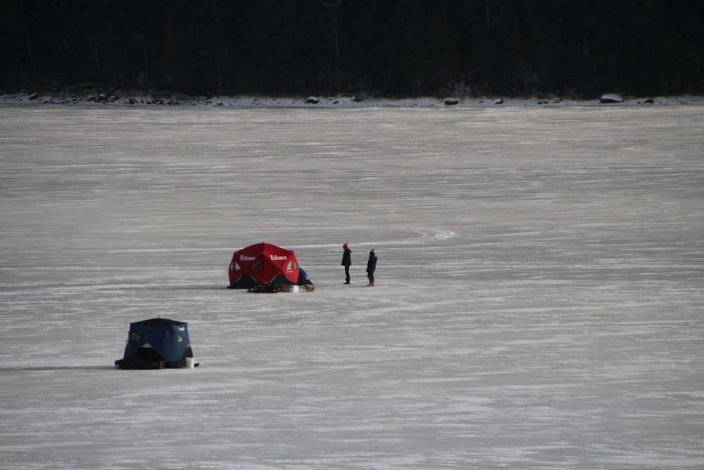 FISHING ON THE LAKE NEAR THE TOWN BEACH. SUNDAY, JANUARY 8, 2016