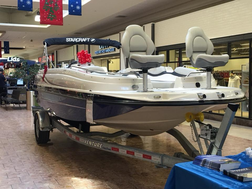 Looking for a new boat? Check out this one from Schroon Lake Marina at the Champlain Centre Mall in Plattsburgh.