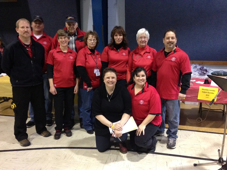 ORGANIZER SHELBY DAVIS (FRONT AND CENTER) WITH MEMBERS OF THE SCHROON LAKE EMS TEAM -- THE BIG WINNERS OF THE 3RD ANNUAL SCHROON LAKE CHILI COOK-OFF IN 2014