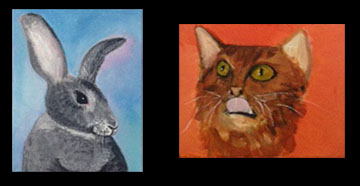 "My fiancé and I (Scott) tried this ""Paint your Pet"" class.  Guess which one is mine. *hint* It's the one that looks like a child with finger paints did it."