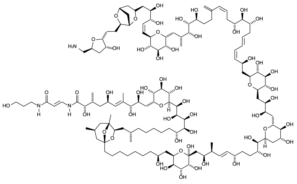 This is palytoxin, a poison gas released from some types of coral. It is a stunning molecule with over 100 continuously linked carbons and it has one of the greatest IUPAC names ever (see below)
