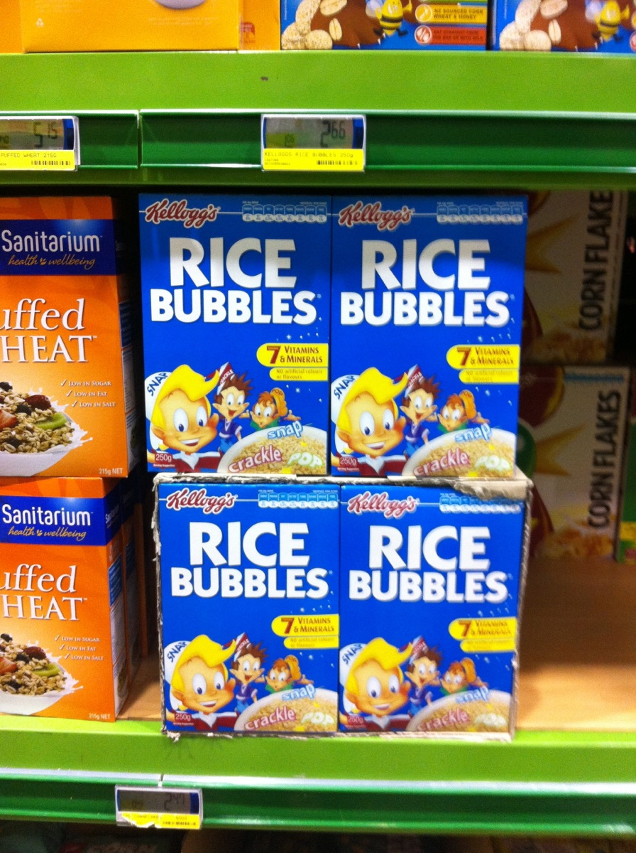 "Why can't Kellogs call them Rice Crispies in New Zealand but as a runner up  - bubbles???? Not even ""Rice Snaps""?"
