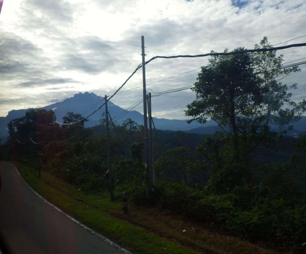 View of Mount Kinabalu from the Bus