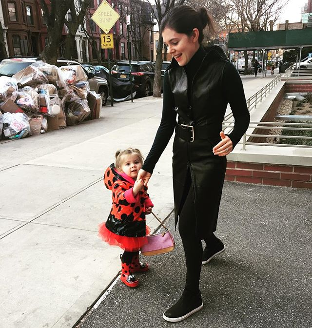#Purim Party time When you need a quick ninja costume #armani and my little  #ladybug but that mountain of trash... #iloveny