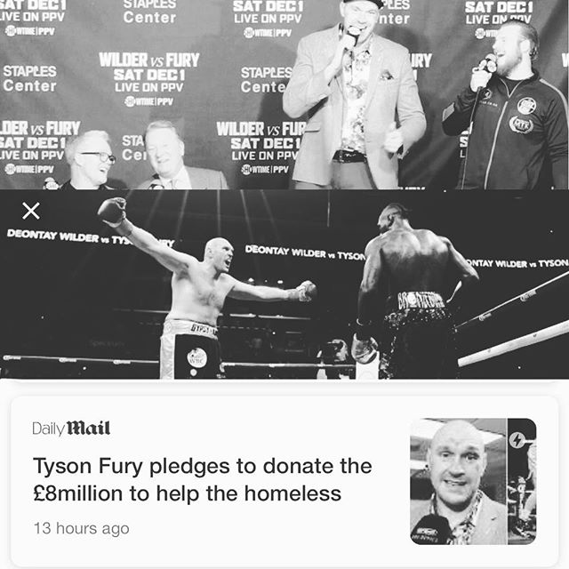 1) takes out most dominate and boring fighter of the last decade  2) looses 160 pounds and comes back after battling severe depression and drug addiction 3) out boxes the heaviest and most feared puncher, takes knockout punch and gets back up 4)leads whole presser in impromptu karaoke of American pie 5) donates 8 mil purse to homeless. Props to #tysonfury