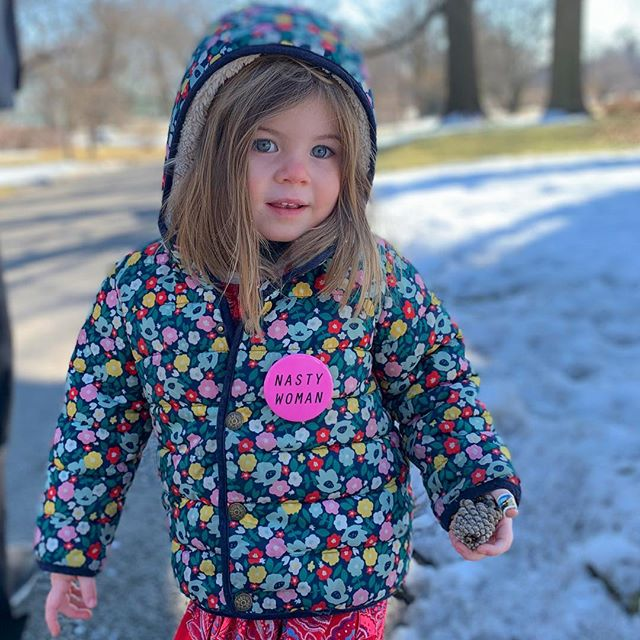 "Growing up in nyc, I always heard ""kids grow up to fast here"", starting to agree 😭 She picked out her pin while strolling through Washington Square Park #nastywoman #Libertyforall #internationalwomansday"