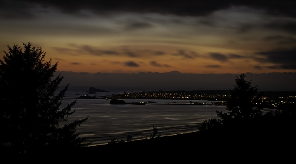 A late spring sunset over Crescent City on the Del Norte coast of California.