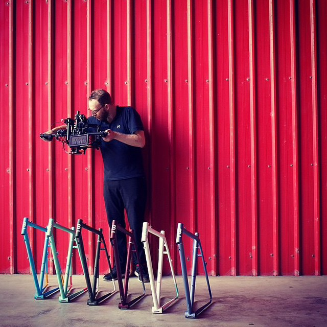 A behind-the-scenes Regram from @ridebrilliant, shooting the making of their first batch of bikes.