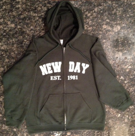 """New Day Est. 1981"" Hooded Zip-up Sweatshirt (click for full image)"