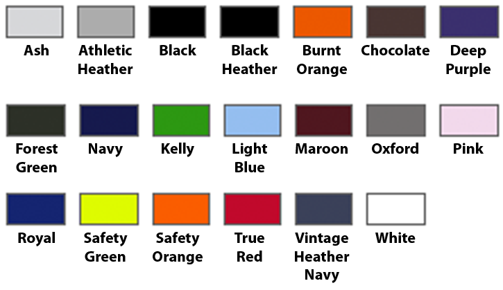 Color Chart for Zip-up Hooded Sweatshirt (click TO MAKE LARGER)