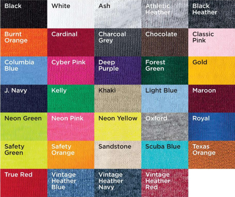 Color Chart for crew neck sweatshirt (click to make larger)