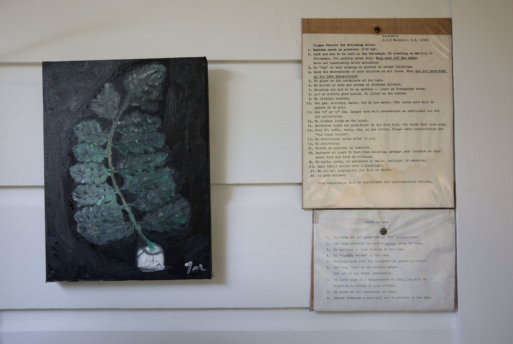 We stayed in one out of four bungalows that used to be for camp quarters but has since been turned into airbnb bungalows for the summer season. Above is a painting Jason painted last year and left it there. They hung it up next to the camp ground rules.