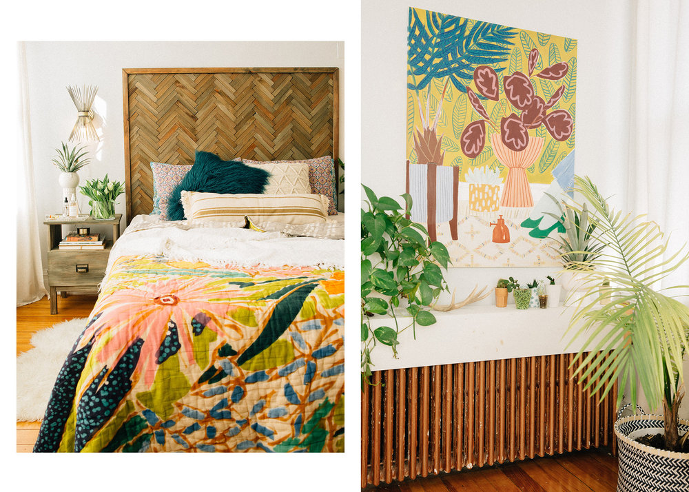 DIY - chevron headboard,  DIY - Botanical Art Painting