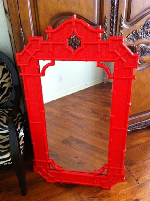 Art District Red Chinoiserie Chic mirror   $395