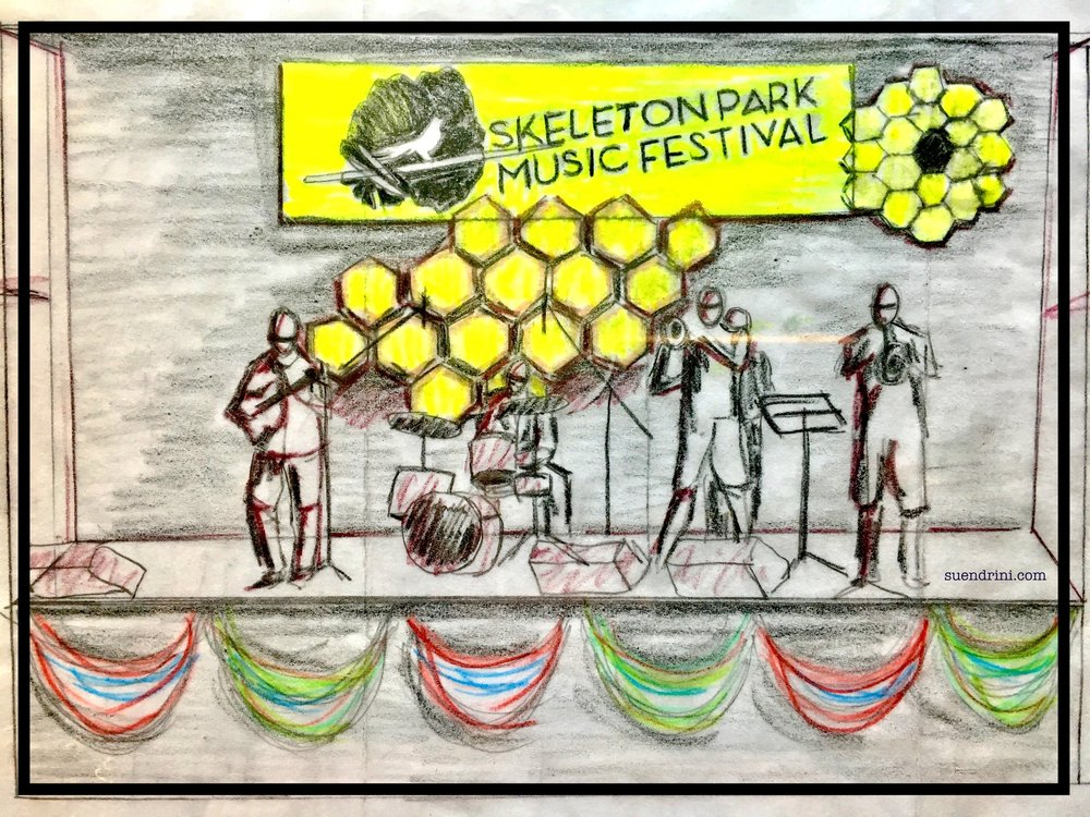 Photo of concept sketch for Skeleton Park Arts Festival by Suendrini.   Long View Wonder - Visualizing the importance of Science & Nature - is reconfigured to suit their stage.  Up cycled textile stage art for Skeleton Park Arts Fest (SPAF) 2017 23-25 June 2017