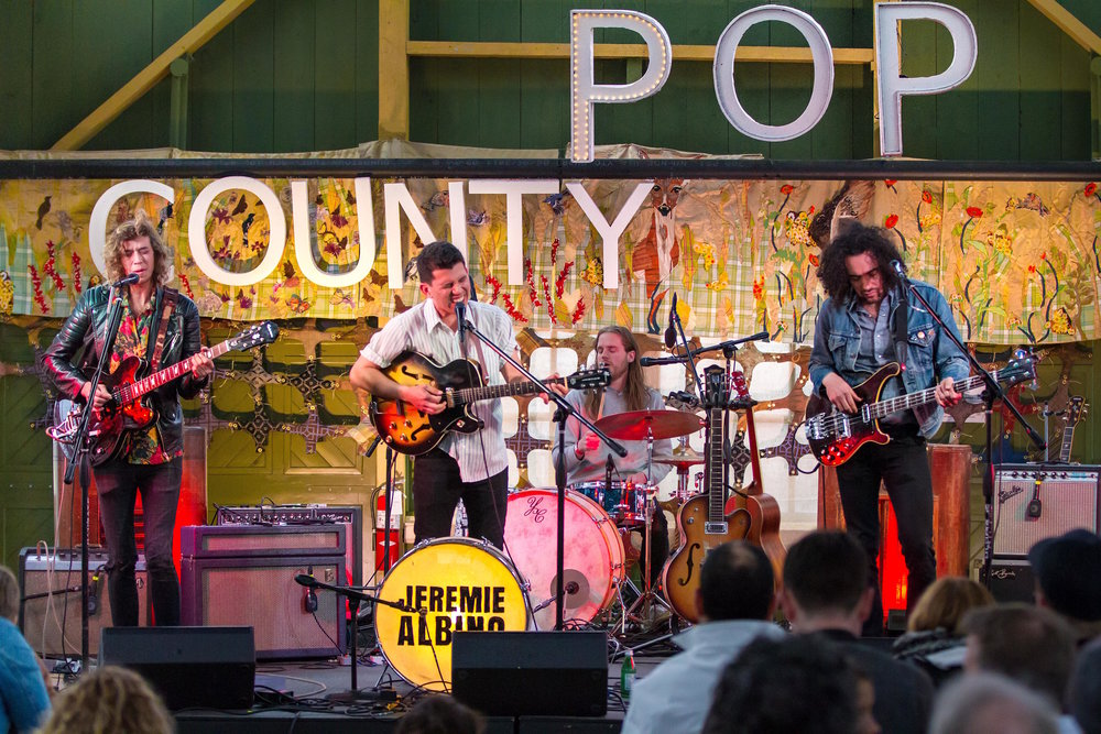 Above: Photo by Bob Ullrich of musical talents, JEREMIE ALBION and the ROSEHALL BAND with art on stage,  Meadow Life  at County Pop 2018  Below: Art On Stage,  Meadow Life  at County Pop 2018 with headliners, ELLIOTT BROOD. Photo by Suendrini  28 May 2018