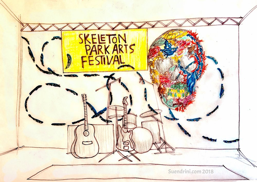 In The Cord of Love - Image: Sketch of original stage art concept for the Skeleton Park Arts Festival 2018 stage, Kingston, OntarioUp cycled Medium: Discontinued commerical textile, remnant marine rope, single-use bottle caps, recyclable water bottles, LED lightingDimensions: Dominant element - human skull 6 feet x 8 feet and forty thread elements at 2 feet each spanning breadth of the stage22-24 June 2018Good Public Reference: Ecojustice
